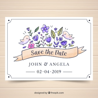 Watercolor wedding card template with floral style