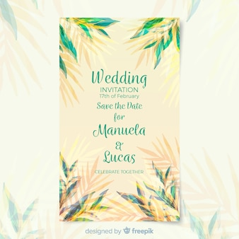 Watercolor wedding card template