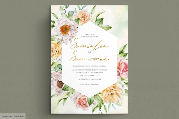 Акварель свадебная открытка с элегантными розами и пионами