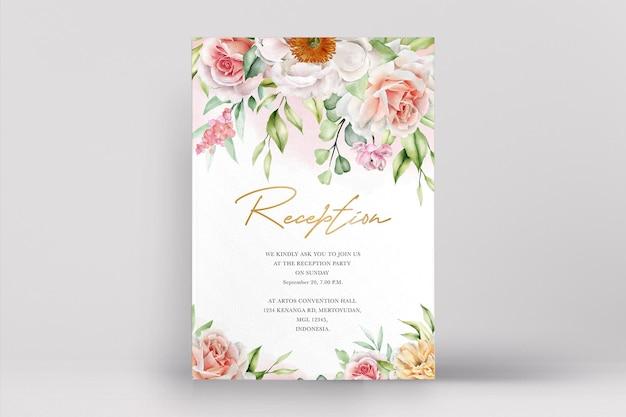 우아한 장미와 모란 수채화 웨딩 카드