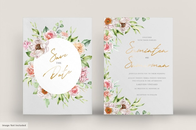 Watercolor wedding card with elegant roses and peonies