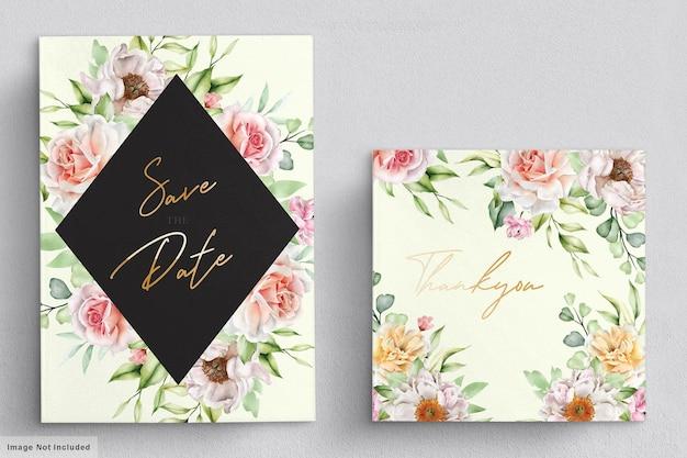 Carta di nozze dell'acquerello con eleganti rose e peonie
