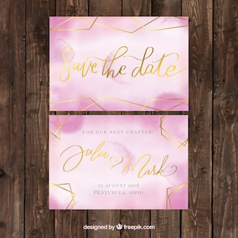 Watercolor wedding card with geimetric shapes