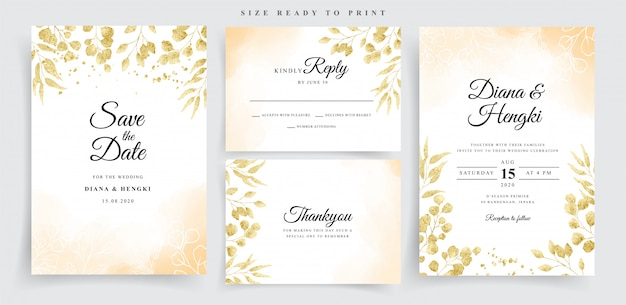 Watercolor on wedding card with gold eucalyptus