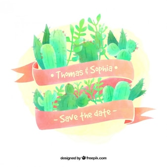 Акварели свадебная открытка с листьями и кактус