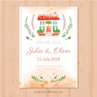 Watercolor wedding card with lovely house
