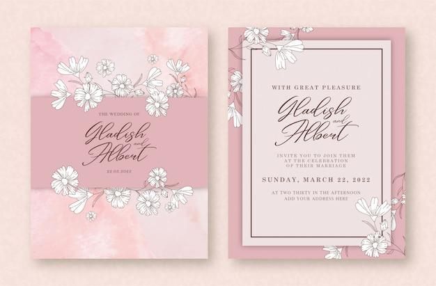 흰 꽃으로 수채화 웨딩 카드