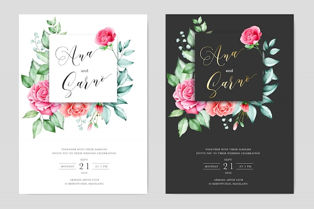 Watercolor wedding cards with floral frame