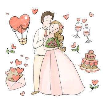 Watercolor wedding couple concept
