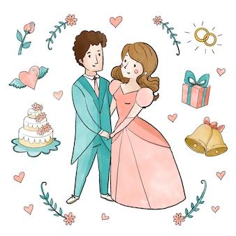 수채화 웨딩 커플