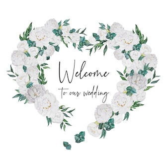 Watercolor wedding decoration heart with white peonies