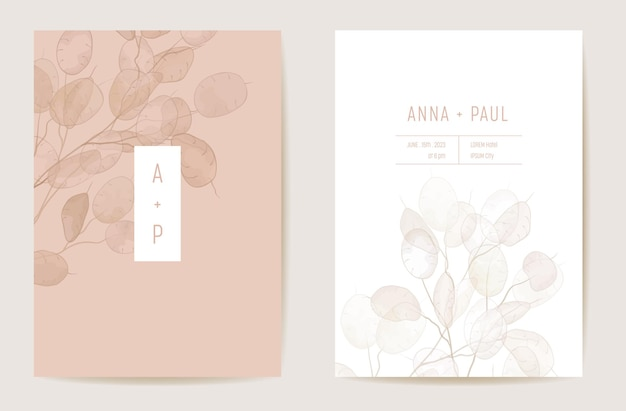 Watercolor wedding dry honesty flower invitation. floral boho lunaria illustration card. botanical save the date template vector, foliage cover, modern poster, trendy design, luxury background