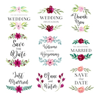 Watercolor wedding floral frames