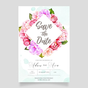 Watercolor wedding floral invitation card template