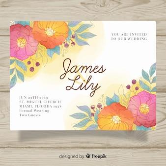 Watercolor wedding floral invitation