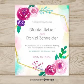 水彩の結婚式の花の招待状