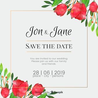 Акварель свадебное цветочное приглашение
