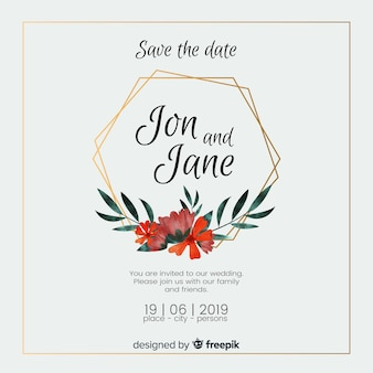 Watercolor wedding floral invitation