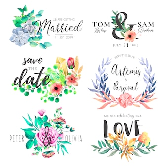 Watercolor Wedding Frame Collection