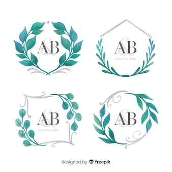 Watercolor wedding frame logo collection