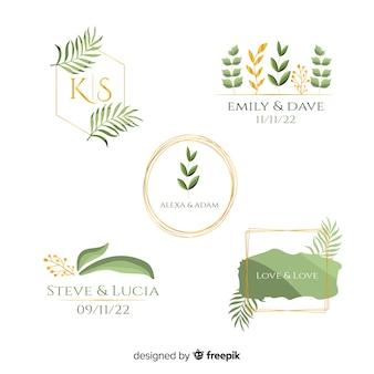 Watercolor wedding frame logos collection