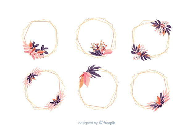 Watercolor wedding frame logos collection