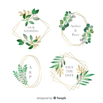 Watercolor wedding frame logos set