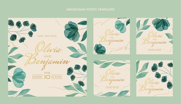 水彩の結婚式のinstagramのポストパック