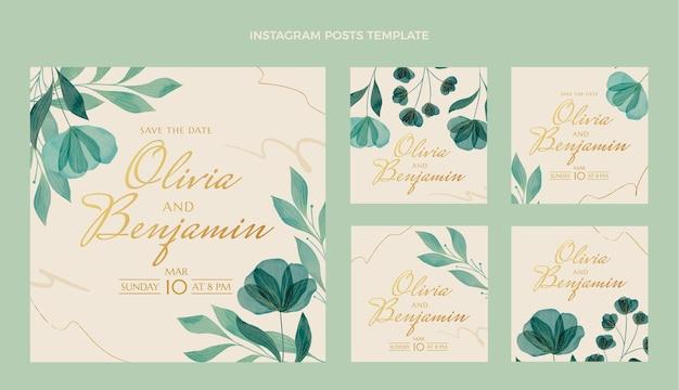 水彩の結婚式のinstagramのポストセット