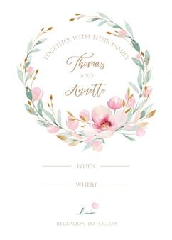 Watercolor wedding invitation card blossom painting.