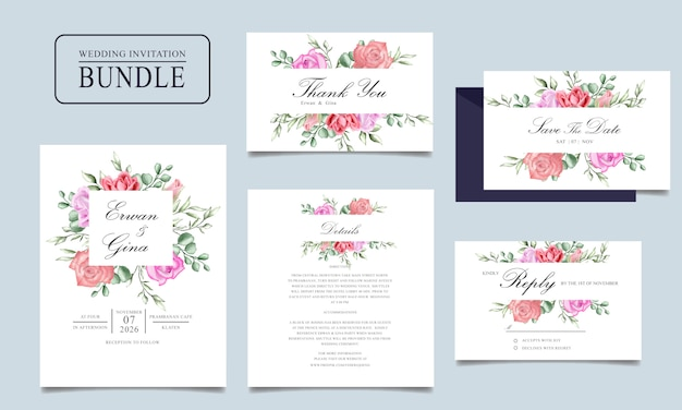 Watercolor wedding invitation card bundle with floral and leaves template