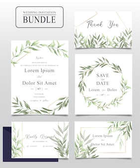Watercolor wedding invitation card bundle with greenery leaves