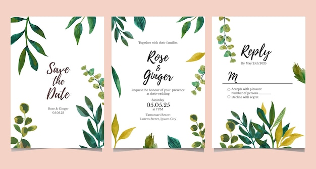 Watercolor wedding invitation card collection