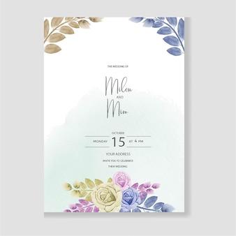 Watercolor wedding invitation card design