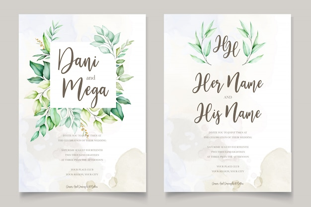 Watercolor wedding invitation card in green leaves