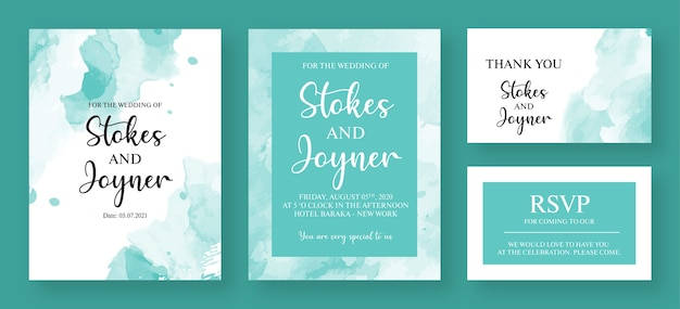 Watercolor wedding invitation card premium template - invitation card