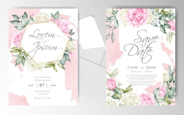 아름 다운 배열 꽃 수채화 결혼식 초대 카드 세트 템플릿