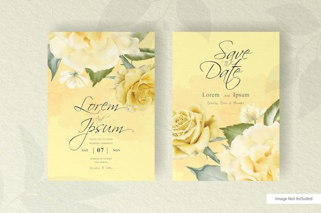 수채화 결혼식 초대 카드 설정 템플릿 꽃과 나뭇잎 장식