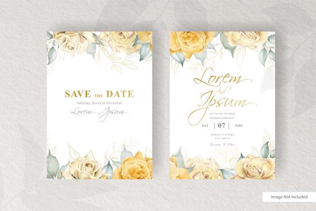 Watercolor wedding invitation card set template with minimalist floral arrangement