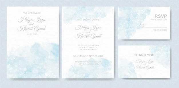 Watercolor wedding invitation card set