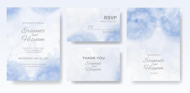 수채화 결혼식 초대 카드 세트 프리미엄 벡터