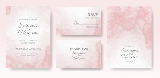 Watercolor wedding invitation card set