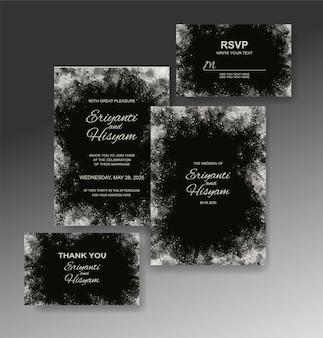 水彩の結婚式の招待カードセット