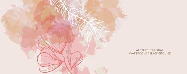 Watercolor wedding invitation card template background with line decoration. abstract background save the date, invitation, greeting card, multi-purpose vector