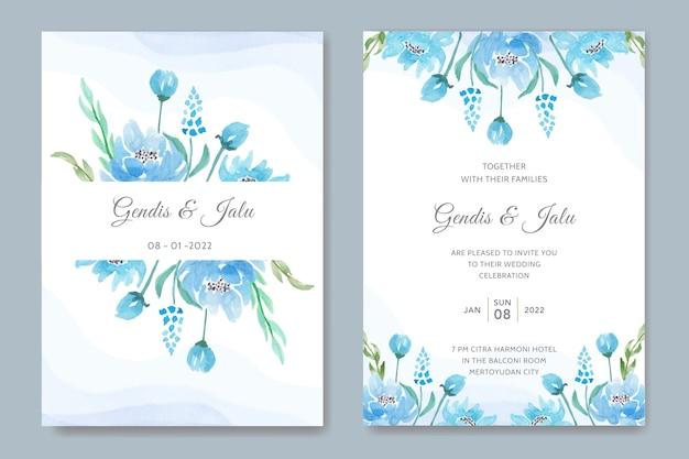 バラと水彩の結婚式の招待カードのテンプレートデザイン