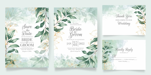 Watercolor wedding invitation card template set with floral decoration