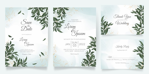 Watercolor wedding invitation card template set with golden floral decoration