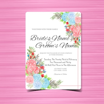 Watercolor wedding invitation card template with colorful roses