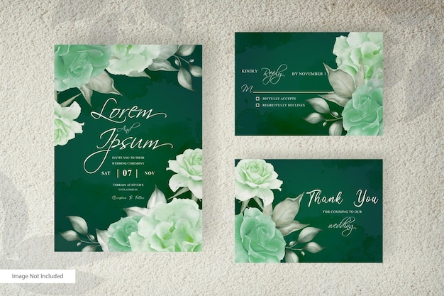 Watercolor wedding invitation card template with floral arrangement and minimalist