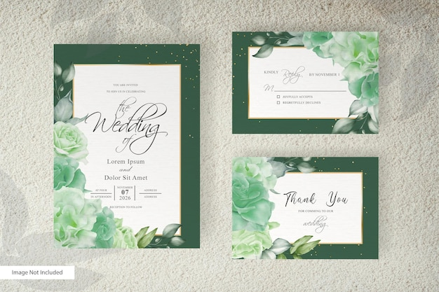 Watercolor wedding invitation card template with floral arrangement